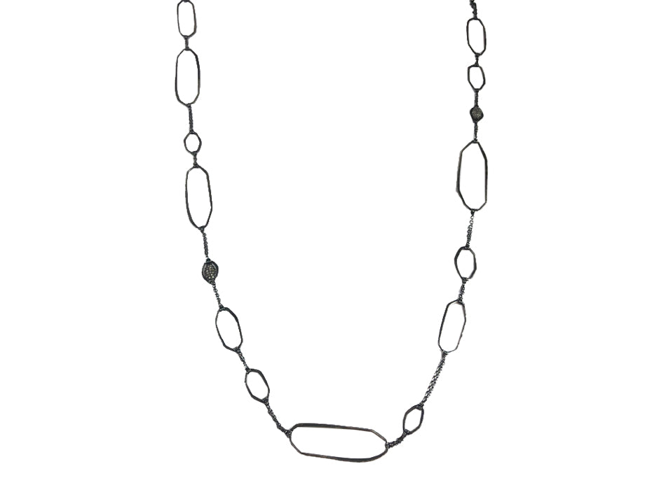 Oxidized and Non-Oxidized Sterling Silver and Silver Diamond Necklace