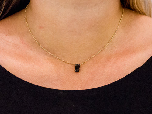 Black Diamond Cube Pendant Necklace