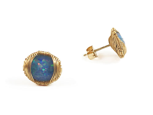 14K Yellow Gold and Opal Stud Earrings