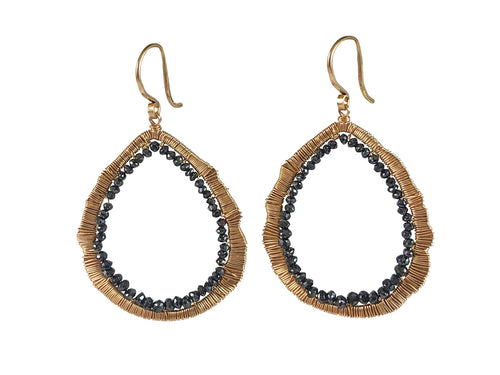 14K Gold and Black Diamond Earrings