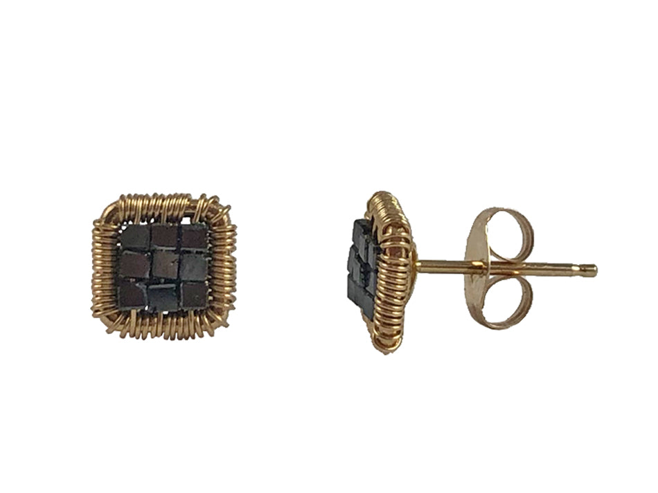 14K Yellow Gold and Black Diamond Stud Earrings