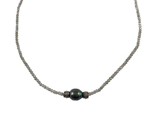 14K Yellow Gold, Oxidized Sterling Silver, Tahitian Pearl Necklace and Diamond Necklace