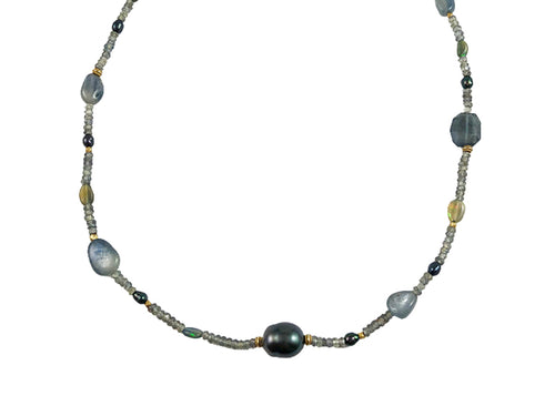Tahitian Pearl, Sapphire, Diamond and Opal Necklace