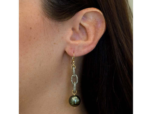 14K Yellow gold, Oxidized Sterling Silver, South Sea Pearl and Diamond Earrings