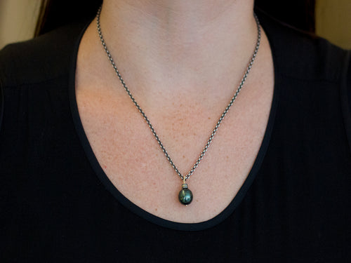 14K Yellow Gold, Oxidized Sterling Silver, Tahitian Pearl and Diamond Necklace