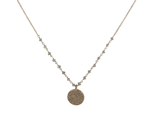 14K Yellow Gold, Labradorite and Diamond Pendant Necklace