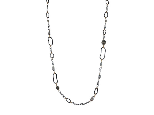 Oxidized Sterling Silver, 14K Yellow Gold, Keshi Pearl and Diamond Necklace