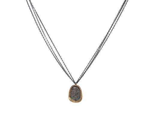 14K Yellow Gold, Oxidized Sterling Silver and Diamond Pendant Necklace