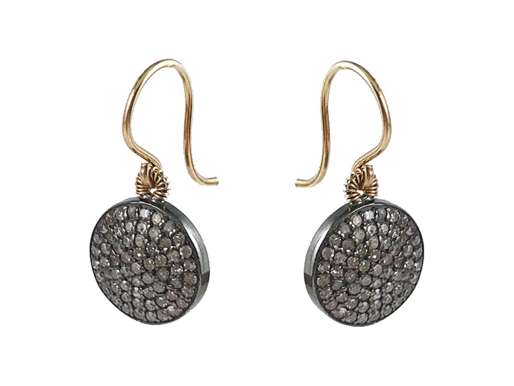 14K Yellow Gold, Oxidized Sterling Silver and Diamond Earrings