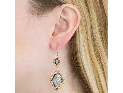 14K Yellow Gold and Black and Gray Diamond Earrings