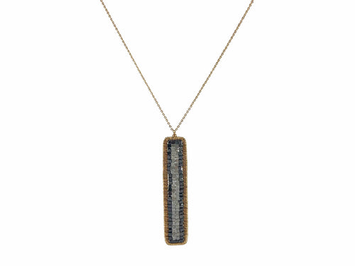 14K Yellow Gold, Gray Diamond and Black Diamond Pendant Necklace