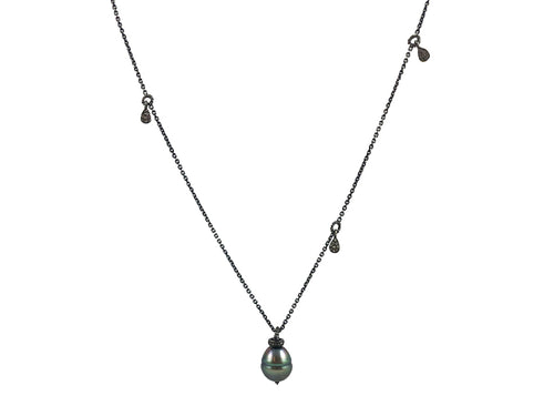 Oxidized Sterling Silver, Tahitian Pearl and Silver Diamond Necklace