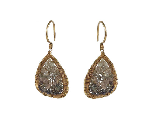 14K Yellow Gold, Diamond and Zircon Woven Earrings