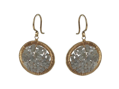 14K Yellow Gold and Gray Diamond Woven Earrings