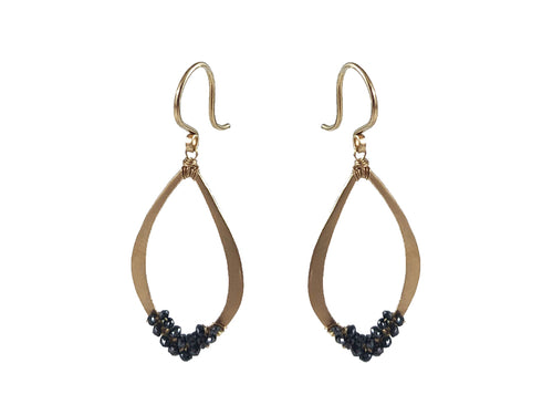 14K Yellow Gold and Black Diamond Earrings