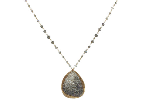 14K Yellow Gold, Diamond And Sapphire Pendant Necklace