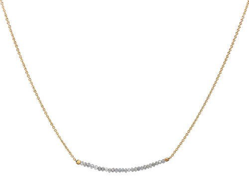 14K Yellow Gold and Gray Diamond Bead Necklace