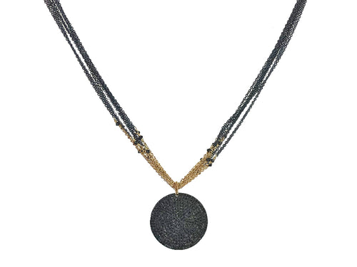 14K Yellow Gold, Oxidized Sterling Silver, Black Diamond and Spinel Pendant Necklace