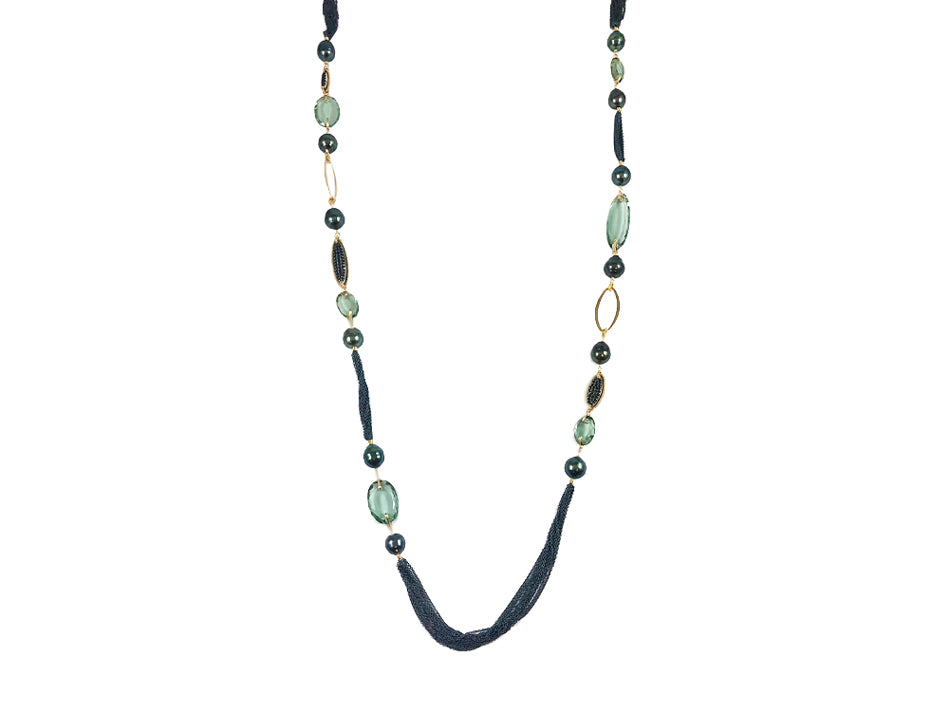 Spinel, Tahitian Pearl and Teal Quartz Necklace