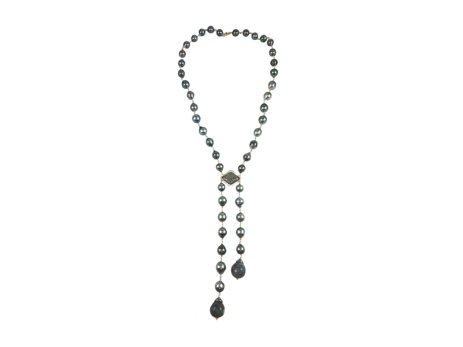 Tahitian Pearl, Labradorite and Diamond Lariat Necklace