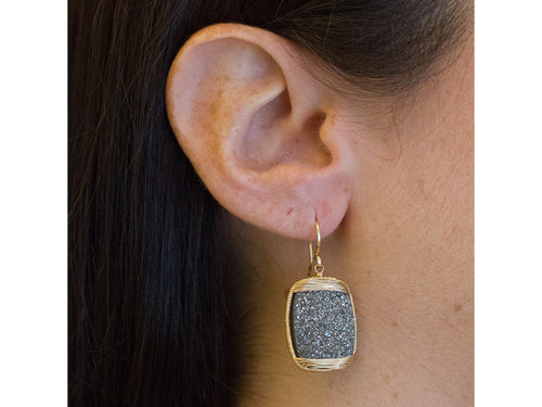 14K Yellow Gold and Druzy Quartz Earrings