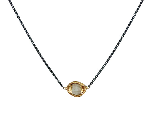 14K Yellow Gold, Oxidized Sterling Silver and Diamond Slice Necklace