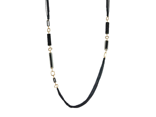 Black Diamond, Spinel and Moonstone Necklace