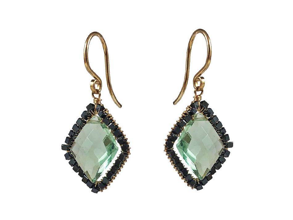 14K Yellow Gold, Black Diamond and Fluorite Earrings
