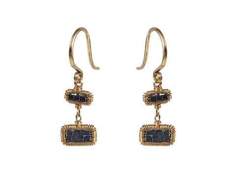 14K Yellow Gold and Diamond Huggie Earrings