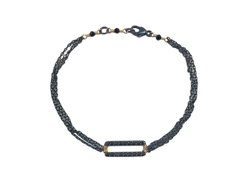 Oxidized Sterling Silver, 14K Yellow Gold and Black Diamond Bracelet