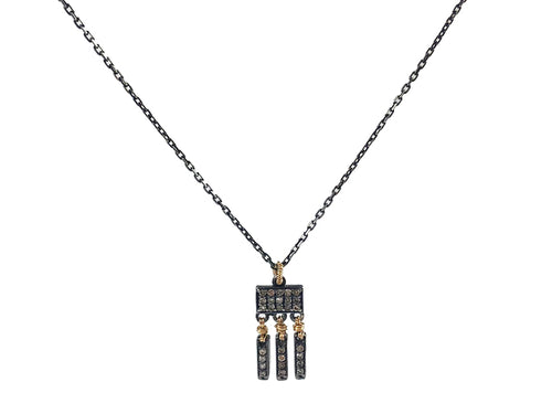 Oxidized Sterling Silver, 14K Yellow Gold and Diamond Necklace