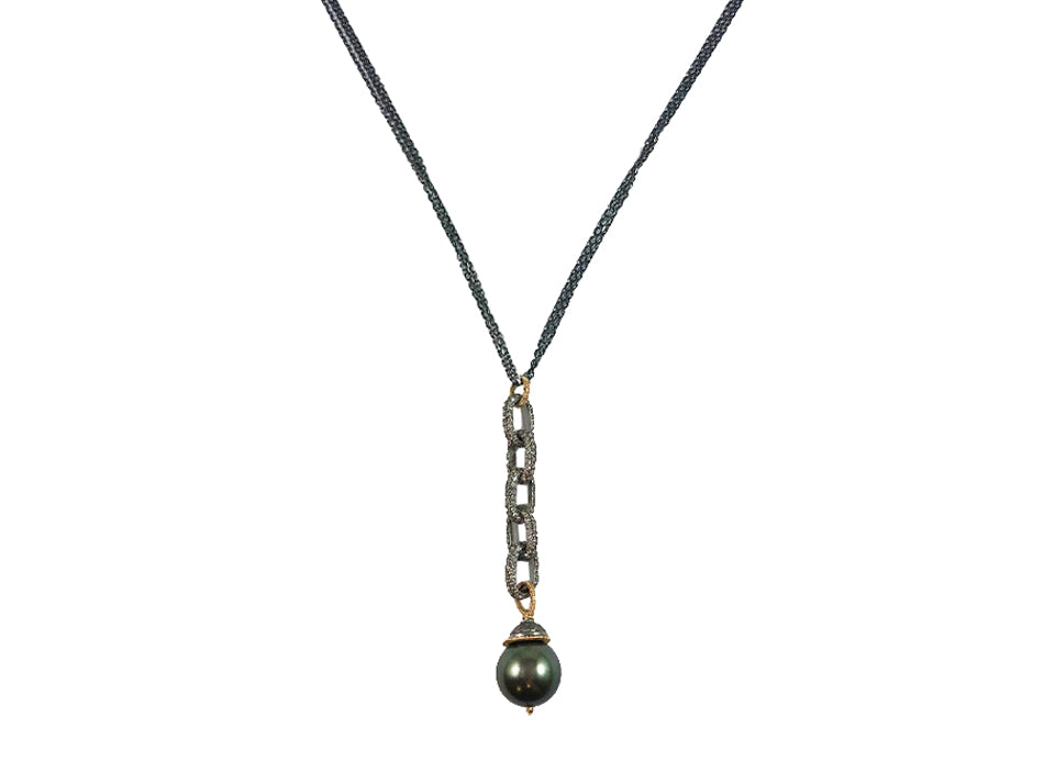 14K Yellow Gold, Oxidized Sterling Silver, Diamond and South Sea Pearl Pendant Necklace