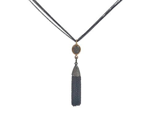 Oxidized Sterling Silver, 14K Yellow Gold and Diamond Tasssel Necklace