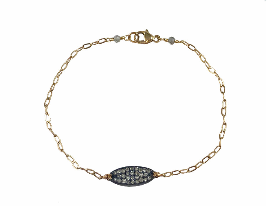 14K Yellow Gold, Oxidized Sterling Silver and Diamond Bracelet
