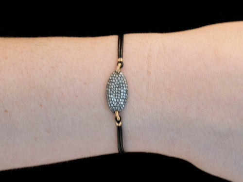 Oxidized Sterling Silver, 14K Yellow Gold, Diamond and Leather Bracelet