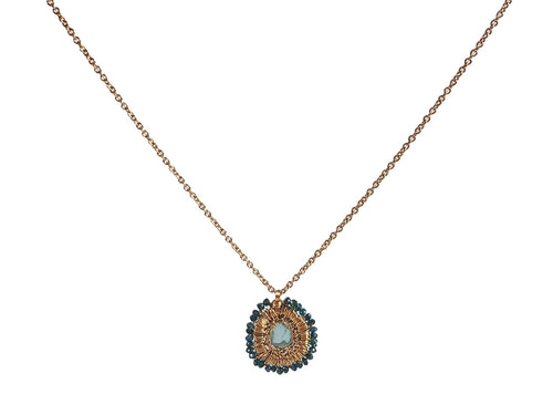14K Yellow Gold and Teal Diamond Necklace