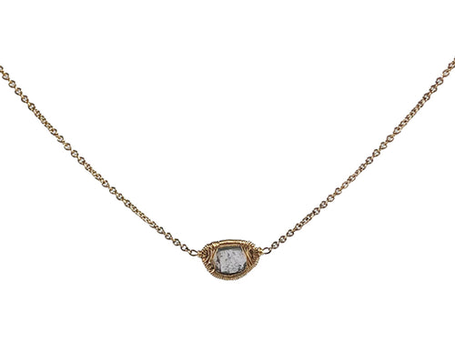 14K Yellow Gold and Gray Diamond Necklace