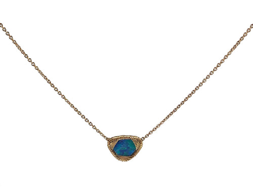 14K Yellow Gold and Opal Doublet Necklace