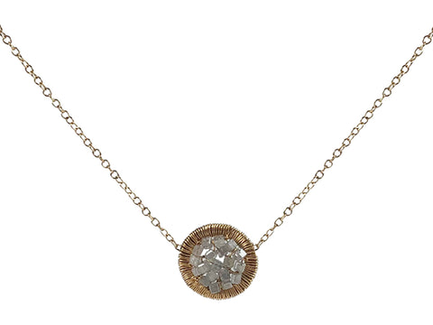 14K Yellow Gold, Oxidized Sterling Silver, Labradorite and Diamond Necklace
