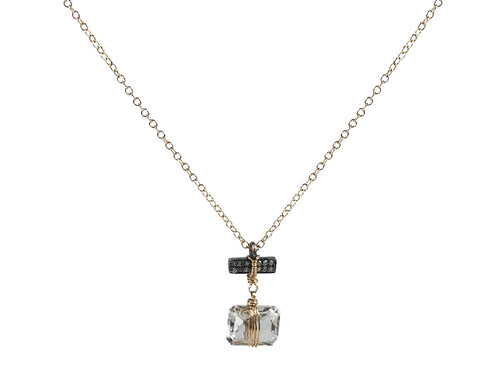 14K Yellow Gold, Oxidized Sterling Silver, White Topaz and Diamond Necklace