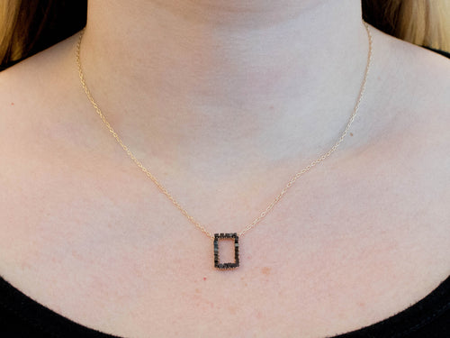 14K Yellow Gold, Black Diamond and Oxidized Sterling Silver Necklace