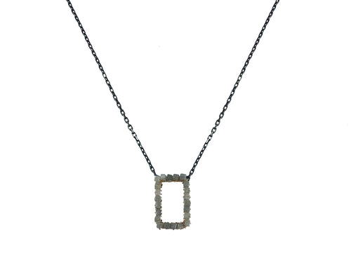 14K Yellow Gold, Oxidized Sterling Silver and Gray Diamond Cube Pendant Necklace