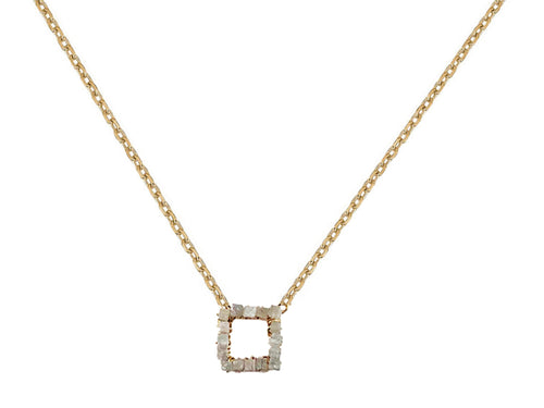 14K Yellow Gold, Gray Diamond and Oxidized Sterling Silver Necklace