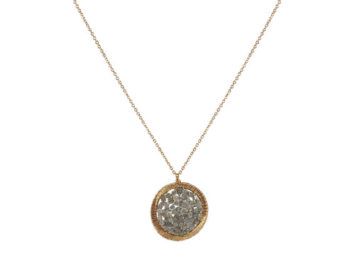 14K Yellow Gold and Gray Diamond Pendant Necklace