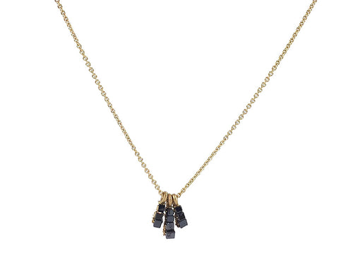 14K Yellow Gold and Black Diamond Necklace