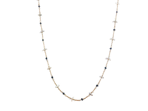14K Yellow Gold, Black Diamond and Keshi Pearl Necklace