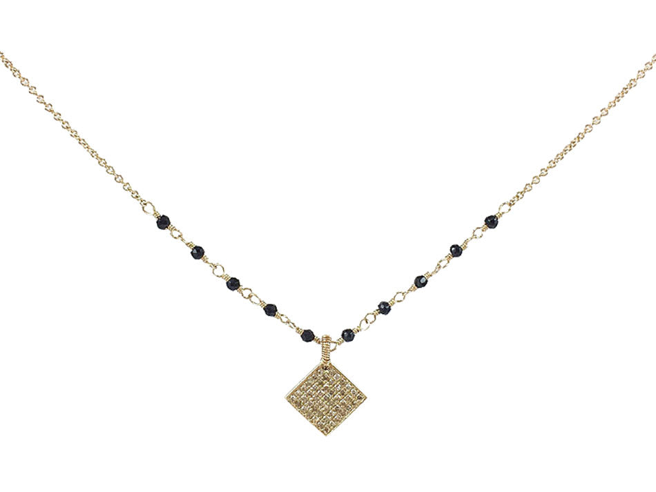 14K Yellow Gold, Grey Diamond and Black Spinel Necklace