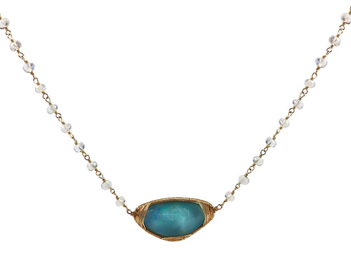 14K Yellow Gold, Opal Triplet and Rainbow Moonstone Necklace