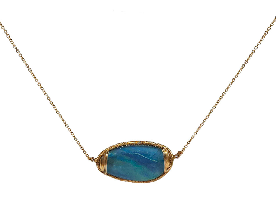 Dana Kellin 14K Yellow Gold and Opal Triplet Necklace
