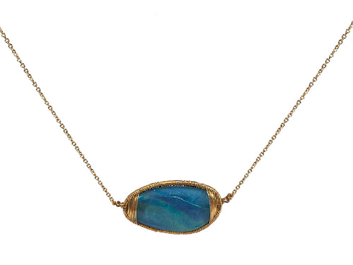 14K Yellow Gold and Opal Triplet Necklace